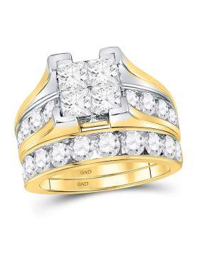 14kt Yellow Gold Womens Princess Diamond Bridal Wedding Engagement Ring Band Set 4.00 Cttw
