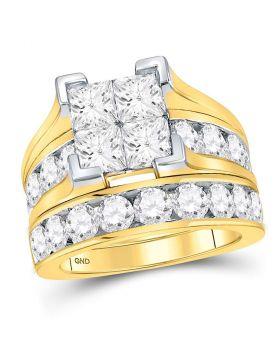 14kt Yellow Gold Womens Princess Diamond Bridal Wedding Engagement Ring Band Set 5.00 Cttw