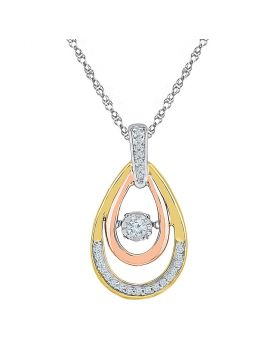 10kt Tri-Tone Gold Womens Round Diamond Oval Moving Twinkle Pendant 1/6 Cttw
