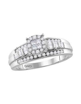 10kt White Gold Womens Princess Round Diamond Cluster Bridal Wedding Engagement Ring 1/2 Cttw