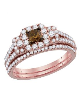 14kt Rose Gold Womens Cognac-brown Diamond Princess Halo Bridal Wedding Engagement Ring Band Set 1.00 Cttw
