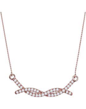 10kt Rose Gold Womens Round Diamond Twist Bar Fashion Necklace 1/2 Cttw
