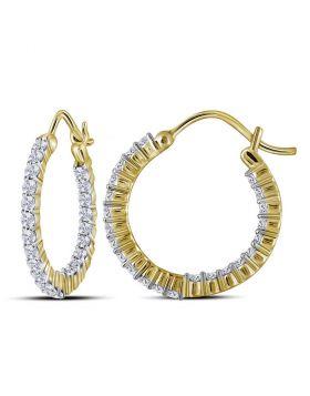 10kt Yellow Gold Womens Round Diamond Inside Outside Hoop Earrings 1.00 Cttw