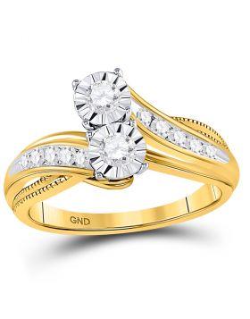 14kt Yellow Gold Womens Round Diamond 2-stone Bridal Wedding Engagement Ring 1/2 Cttw