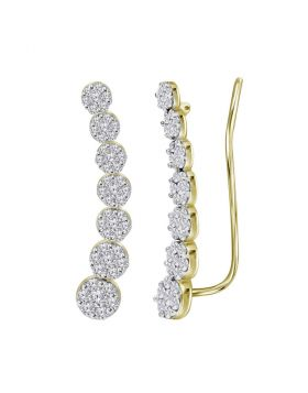 10kt Yellow Gold Womens Round Diamond Cluster Climber Earrings 1/2 Cttw
