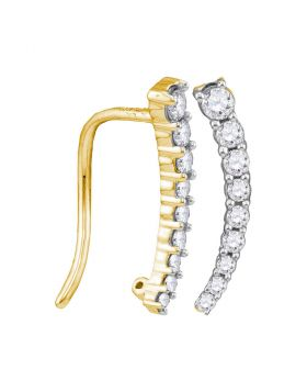 10kt Yellow Gold Womens Round Diamond Graduated Journey Climber Earrings 1/4 Cttw