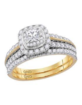 14kt Yellow Gold Womens Princess Diamond Certified Milgrain Halo Bridal Wedding Engagement Ring Band Set 1.00 Cttw