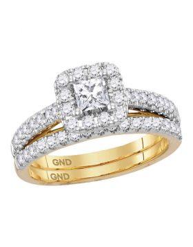 14kt Yellow Gold Womens Diamond Princess EGL Bridal Wedding Engagement Ring Band Set 1.00 Cttw