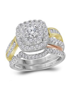14kt White Yellow-tone Gold Womens Round Diamond Double Halo Bridal Wedding Ring Set 1.00 Cttw (Certified)