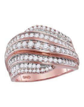 14kt Rose Gold Womens Round Diamond Contoured Stripe Fashion Band Ring 1 Cttw