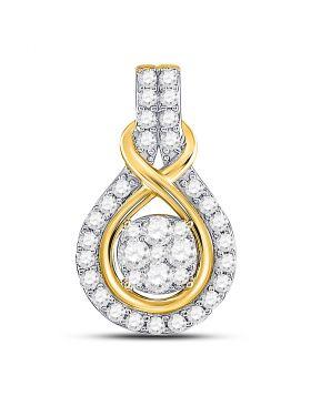 10kt Yellow Gold Womens Round Diamond Cluster Pendant 1/2 Cttw