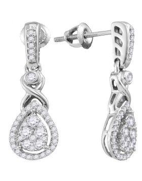 10kt White Gold Womens Round Diamond Teardrop Cluster Dangle Earrings 1/2 Cttw
