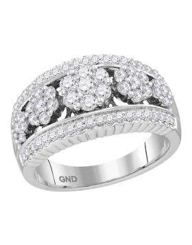 10kt White Gold Womens Round Diamond Symmetrical Flower Cluster Band Ring 3/4 Cttw