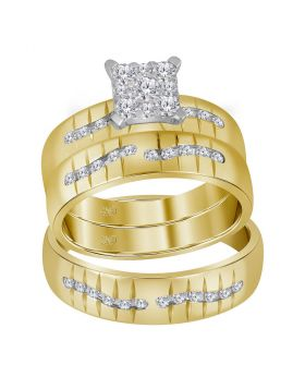 14kt Yellow Gold His & Hers Round Diamond Square Cluster Matching Bridal Wedding Ring Band Set 5/8 Cttw