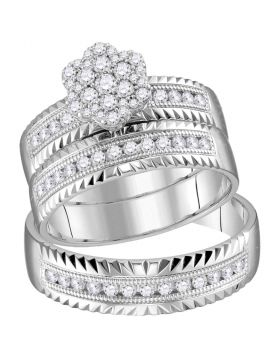 14kt White Gold His & Hers Round Diamond Cluster Faceted Matching Bridal Wedding Ring Band Set 3/4 Cttw