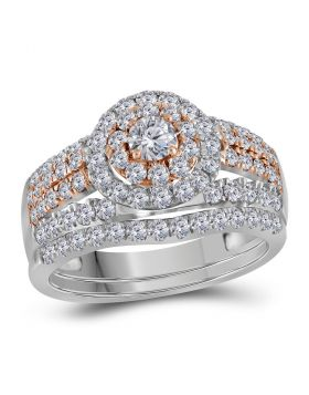 14kt White Gold Womens Round Diamond Double Halo Rose-tone Bridal Wedding Engagement Ring Band Set 1-1/2 Cttw