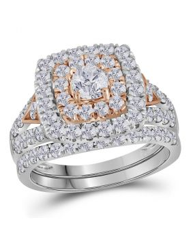 14kt White Gold Womens Round Diamond Double Halo Rose-tone Bridal Wedding Engagement Ring Band Set 2.00 Cttw