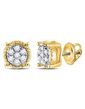 10kt Yellow Gold Womens Round Diamond Flower Cluster Milgrain Stud Earrings 1/10 Cttw