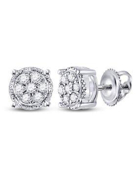 10kt White Gold Womens Round Diamond Flower Cluster Stud Earrings 1/6 Cttw