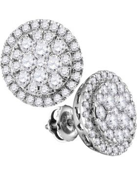 14kt White Gold Womens Round Diamond Circle Frame Cluster Stud Earrings 1.00 Cttw