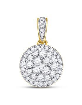 14kt Yellow Gold Womens Round Diamond Circle Frame Cluster Pendant 1/2 Cttw