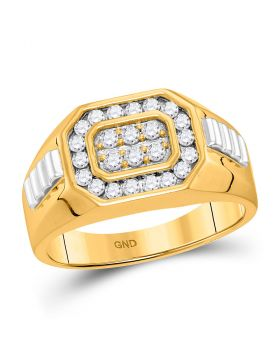 10KT YELLOW TWO-TONE GOLD ROUND DIAMOND OCTAGON FRAME CLUSTER RIBBED RING 1/2 CTTW