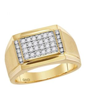14KT YELLOW GOLD ROUND DIAMOND SQUARE CLUSTER RING 3/8 CTTW