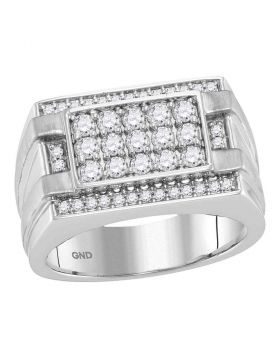 14KT WHITE GOLD ROUND DIAMOND SQUARE CLUSTER RING 1.00 CTTW