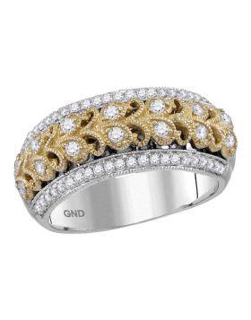 14kt Two-tone White Gold Womens Round Diamond Filigree Band Ring 1/2 Cttw