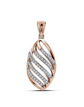 10kt Rose Gold Womens Round Diamond Oval Cascading Stripe Fashion Pendant 1/6 Cttw