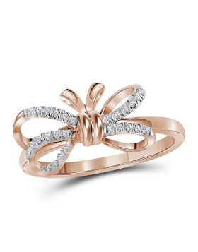 10kt Rose Gold Womens Round Diamond Ribbon Bow Knot Ring 1/8 Cttw