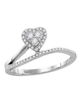 10kt White Gold Womens Round Diamond Slender Heart Band Ring 1/5 Cttw
