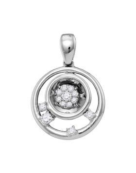 10kt White Gold Womens Round Diamond Circle Cluster Pendant 1/8 Cttw