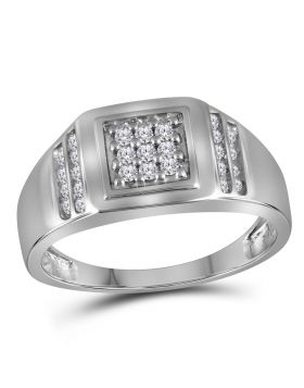 10KT WHITE GOLD ROUND DIAMOND SQUARE CLUSTER RING 1/4 CTTW