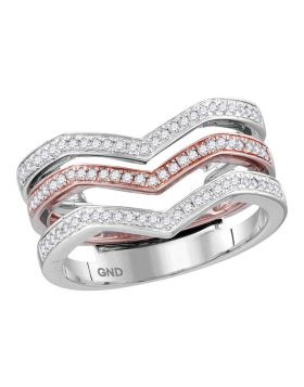 10kt White Rose Gold Womens Round Diamond 3-piece Triple Stackable Chevron Band Ring 1/3 Cttw
