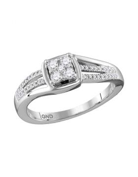 10kt White Gold Womens Round Diamond Cluster Ring 1/4 Cttw