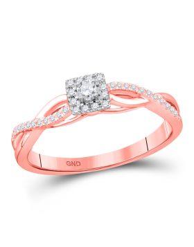 10kt Rose Gold Womens Round Diamond Solitaire Twist Bridal Wedding Engagement Ring 1/5 Cttw