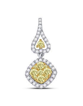 14kt White Gold Womens Round Yellow Diamond Diagonal Square Cluster Pendant 3/4 Cttw