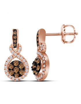 10kt Rose Gold Womens Round Cognac-brown Color Enhanced Diamond Cluster Dangle Earrings 1/2 Cttw