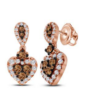 10kt Rose Gold Womens Round Cognac-brown Color Enhanced Diamond Heart Dangle Earrings 1.00 Cttw