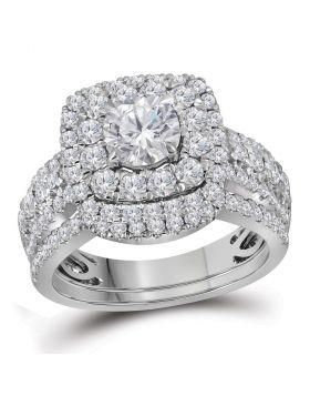 14kt White Gold Womens Round Diamond Certified Halo Bridal Wedding Engagement Ring Band Set 2-1/2 Cttw