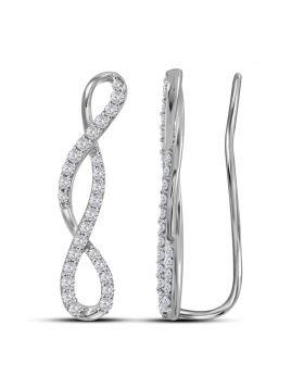 10kt White Gold Womens Round Diamond Infinity Climber Earrings 1/2 Cttw