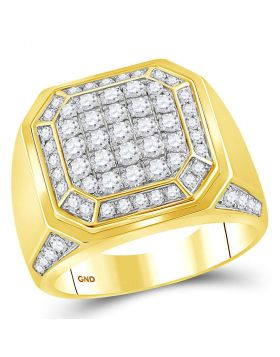 14kt Yellow Gold Mens Round Diamond Octagon Cluster Ring 2.00 Cttw