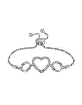 Sterling Silver Womens Round Diamond Heart Bolo Bracelet 1/20 Cttw