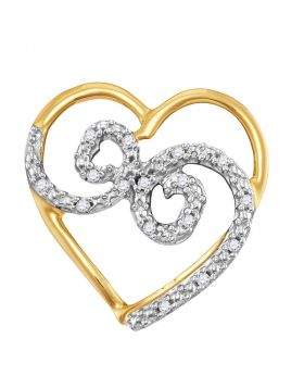 10kt Yellow Gold Womens Round Diamond Curled Heart Pendant 1/20 Cttw