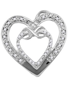 10kt White Gold Womens Round Diamond Nested Double Heart Pendant 1/10 Cttw