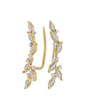 10kt Yellow Gold Womens Round Diamond Climber Earrings 1/5 Cttw