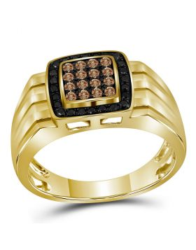 10KT YELLOW GOLD ROUND COGNAC-BROWN BLACK COLOR ENHANCED DIAMOND SQUARE CLUSTER BAND RING 1/2 CTTW