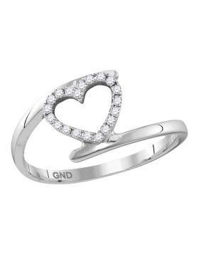 10kt White Gold Womens Round Diamond Held Heart Love Ring 1/8 Cttw
