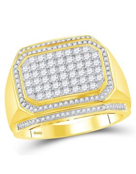 14KT YELLOW GOLD ROUND DIAMOND OCTAGON CLUSTER RING 1-3/4 CTTW
